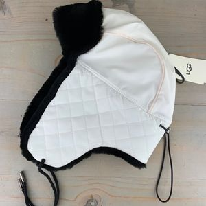 UGG QUILTED WHITE  NYLON TRAPPER HAT WITH  FUR